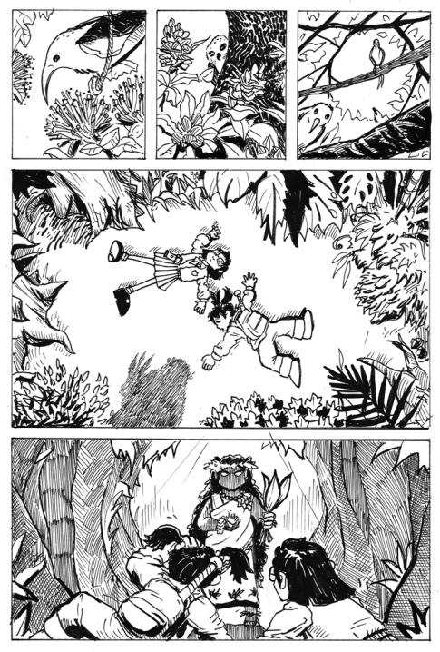 Figure 19: Cacy and Kiara meet Hi'iaka of the forest (left) and her sister Madam Pele (right).